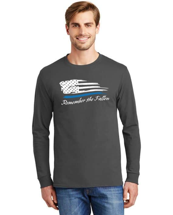 Remember the Fallen - Long Sleeve shirt 5586 Charcoal - Model Front
